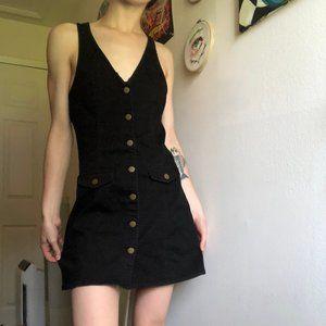 UO Cooperative Black Overall Mini Dress